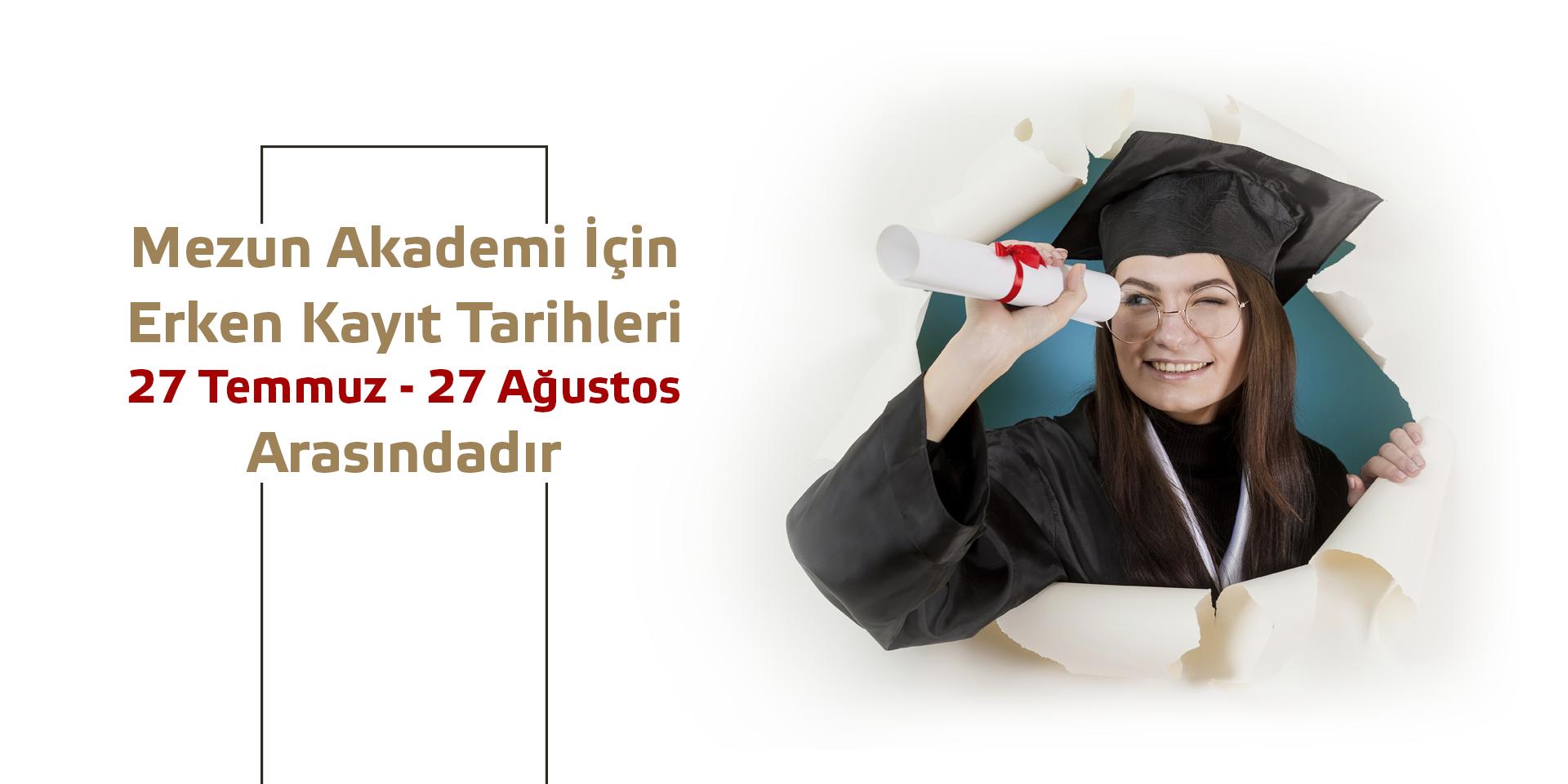 Türkiye'nin ve Kayseri'nin ilk mezun akademisinde yerinizi almak için acele ediniz. Hafta içi saat 09.00 – 21.00 arası sadece 57 mezun öğrenciler olacaktır. Haftalık 24 saat ders ve 8 saat etüt yapılacaktır. Daha detaylı bilgi almak için bizimle görüşebilirsiniz.